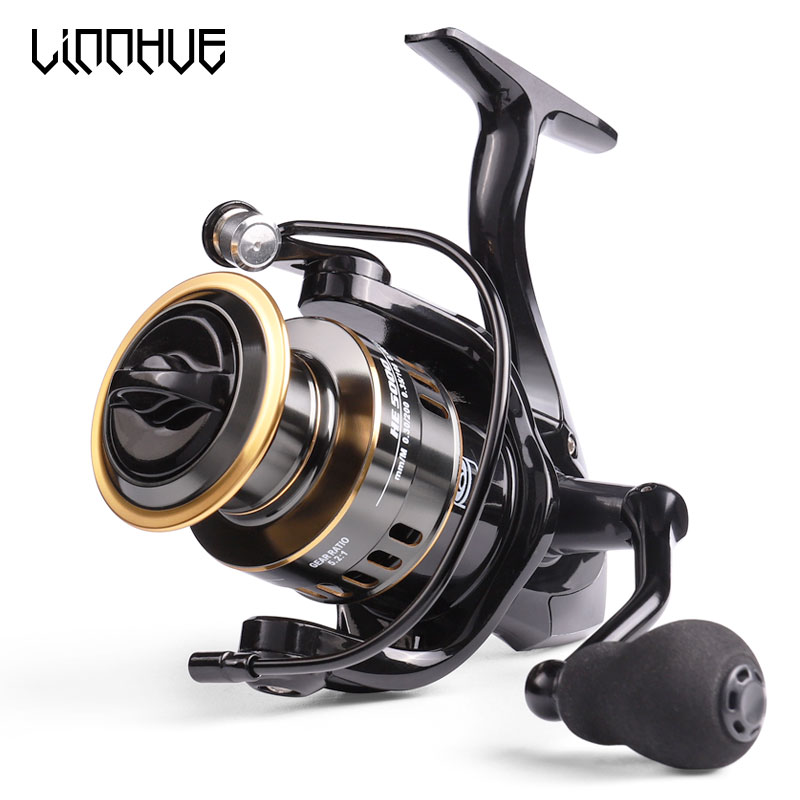 LINNHUE 2020 New Fishing Reel HE1000-7000 Max Drag 10kg Reel Fishing 5.2:1 High Speed Metal Spool Spinning Reel Saltwater Reel