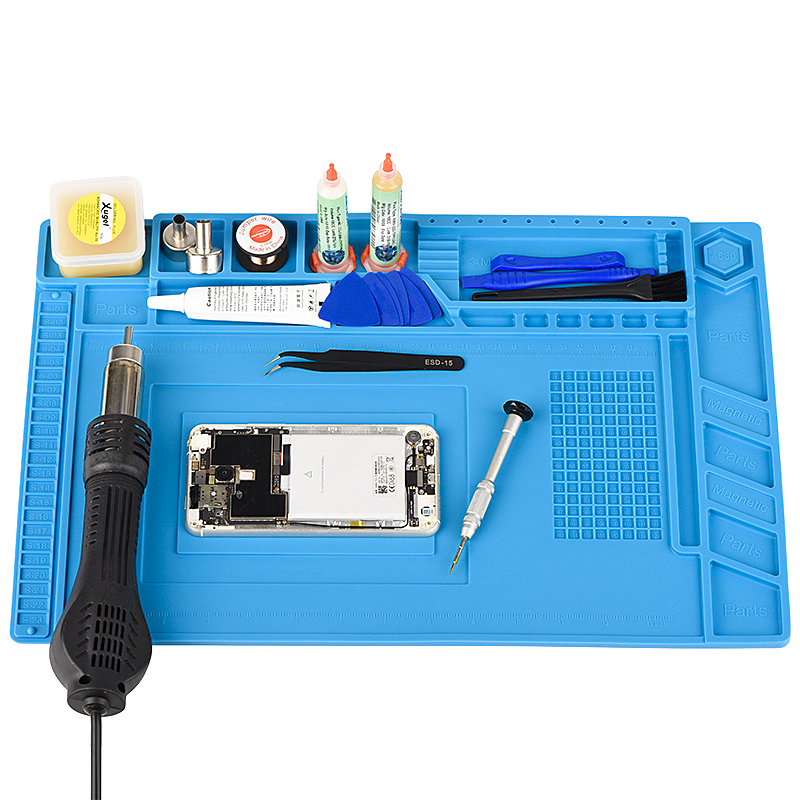 ESD Heat Insulation Soldering Working Mat With Magnet Silicone Insulation Pad High Temperature Resistance Welding Working Mat