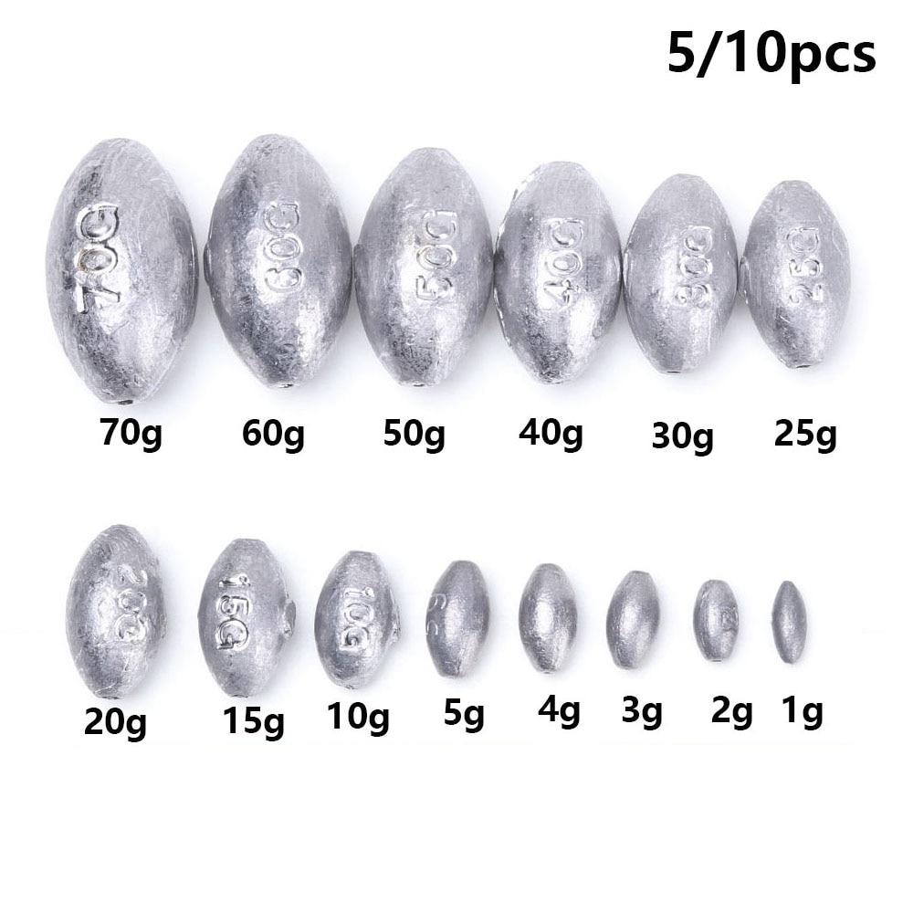 5PCS 10g Per Piece Fish Tackle Olive Shaped Swivel Sinker Fishing Lead Weight