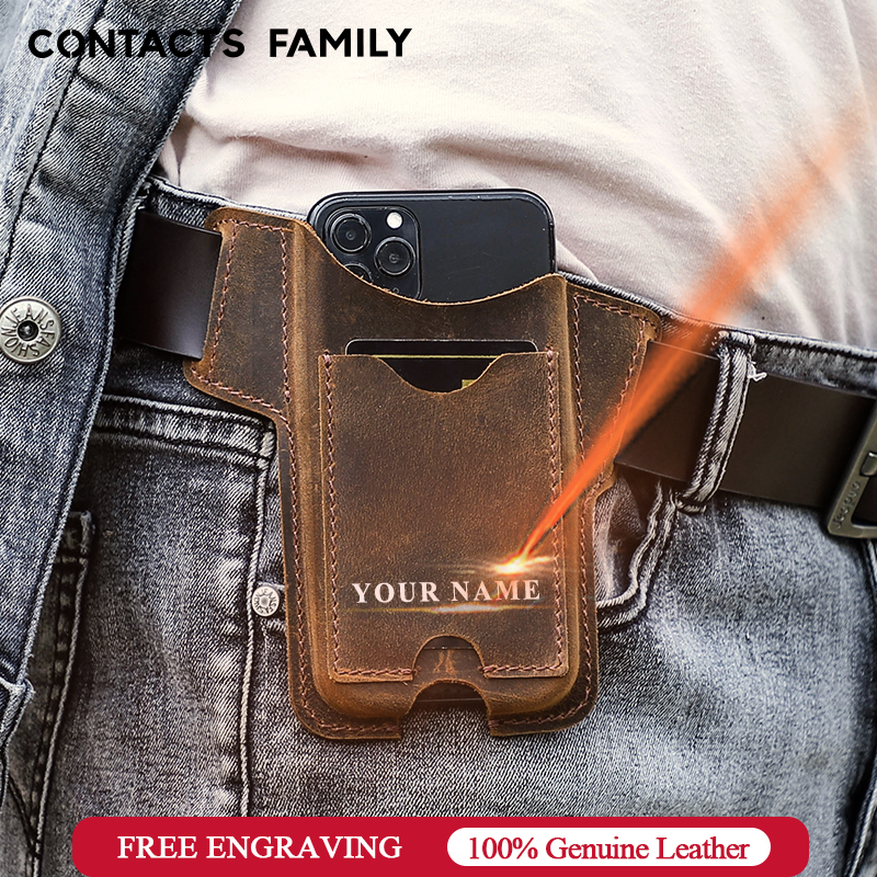 CONTACT'S FAMILY 100% Cow Leather Phone Case for iPhone 12 Men Cellphone Loop Holster Case Belt Waist Bag Purse Phone Wallet
