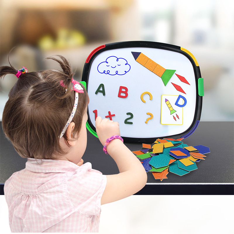 2020 New Arrivals Drawing Board & Magnetic Puzzle Double Sided Painting Board Magnet Alphabet Number Puzzle Educational Toys
