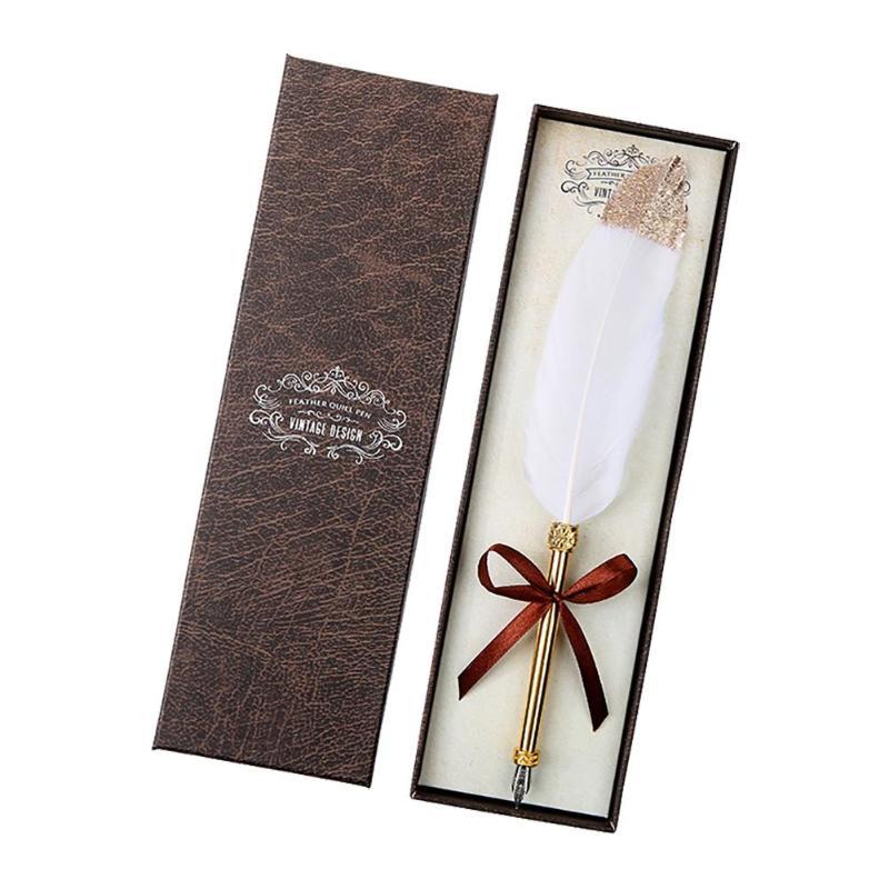 Stylos de Signature d'affaires de stylo d'immersion de plume blanche rétro avec la papeterie de boîte-cadeau