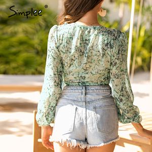 Image 4 - Simplee Sexy v neck women chiffon blouse shirt Ruffled bow tie female tops shirt Vintage floral print bohemian ladies blouse