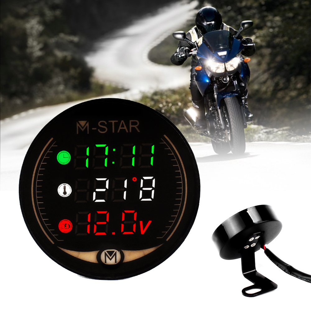 LED 3-in-1 Motorcycle Meter 12V Waterproof Time Temperature Voltage Display Table For Ducati HYPERMOTARD 1100 796 998 M1000S