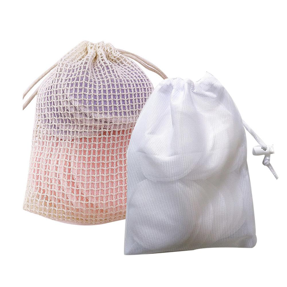 Washable Solid Color Facial Cleansing Makeup Remover Wipes Mesh Drawstring Storage Bag Clean Facial Skin Care