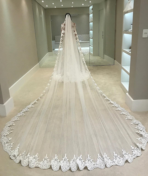 White Ivory 4 Meters Long Full Edge Lace Wedding Veil One Layer Tulle Bridal Veil with Comb Wedding Accessories Veu De Noiva