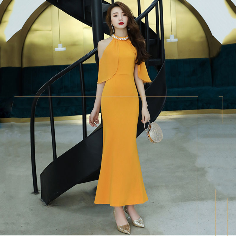 Orange Faux Pearl Summer Sexy Young Lady Cheongsam Sleeveless Long Maxi Dress Beads Mermaid Evening Party Gown Off Shoulder