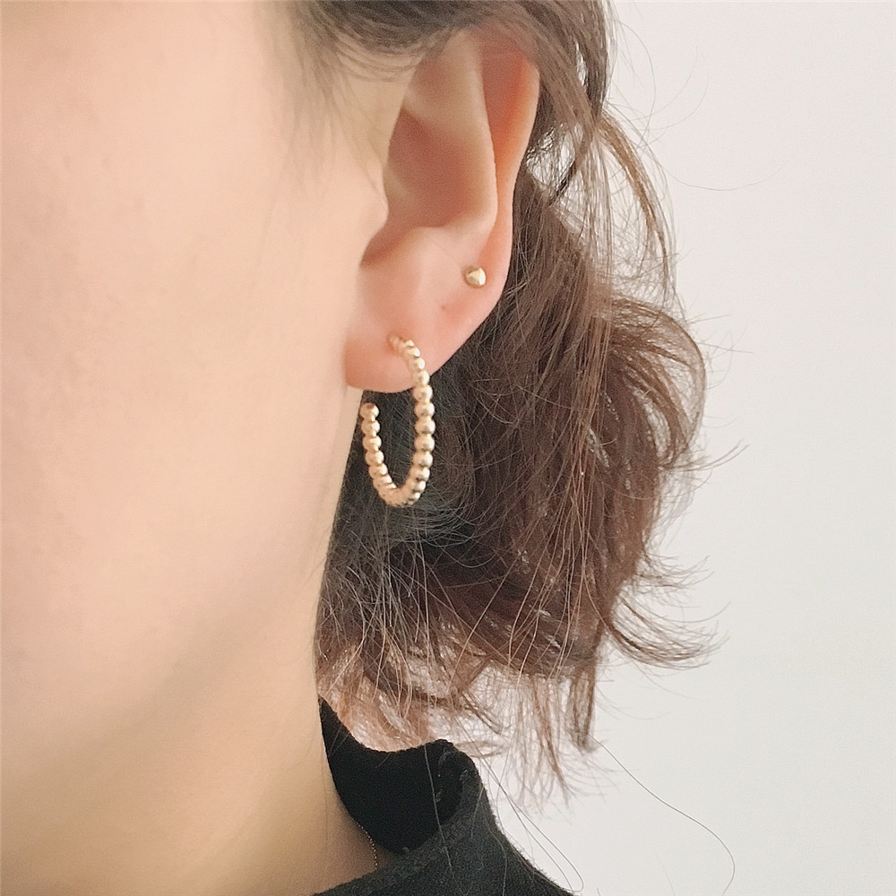 Daily Wearing Earrings Gold Or Rhodium Color Plating Ball Shape Hoop Earrings For Women Simple Basic Jewelry