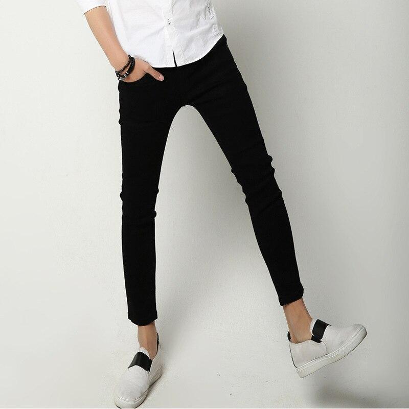 New Style Fashionable Men Black Capri Pants Summer Men Fashion Korean-style Slim Fit Skinny Pants