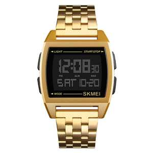 SKMEI Digital Watch Stainless-Steel Multifunctional Waterproof Fashion 10pcs Square