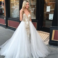 Prom Dress A Line Spaghetti Straps Floor Length with Appliques Zipper Up White Detachable Party Gown