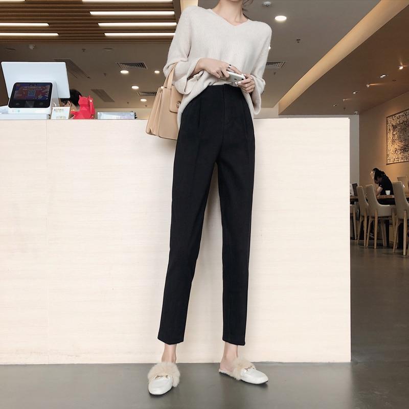 H928ff6f2f63845beacdbb544cbb826d9L - Autumn / Winter High Waist Thick Broadcloth Solid Pants