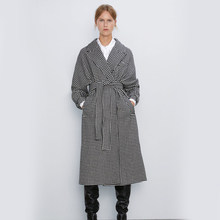 2019 Autumn Winter Houndstooth Vintage Long Coats ZA Women New Chic Belt Pockets Elegant Office Jacket Outwear Female Coat Party(China)