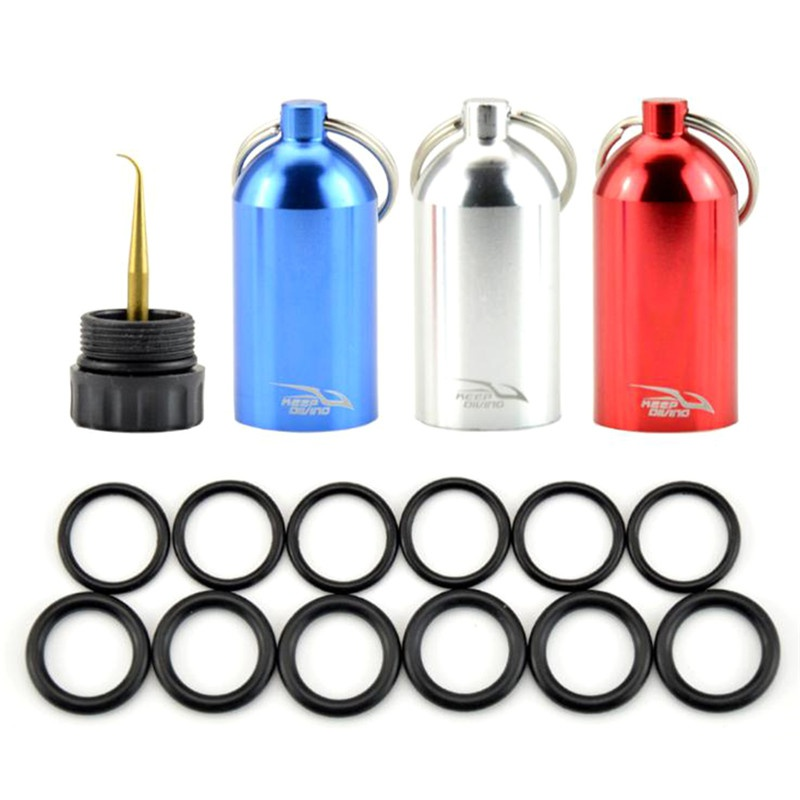 Mini Aluminum Scuba Dive Diving Tank Keychain With 12 O Rings And Brass Pick Swimming Diving Water Sports Scuba Snorkeling