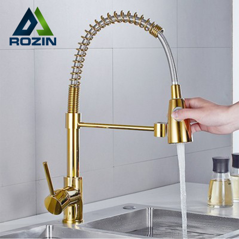 Rozin Golden Kitchen Faucet Pull Down Dual Mode Crane 360 Degree Rotation Stream Sprayer Nozzle Kitchen Sink Hot Cold Mixer Taps