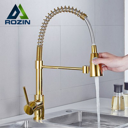 Rozin robinet de cuisine doré tirer vers le bas double Mode grue 360 degrés Rotation flux pulvérisateur buse cuisine évier chaud froid mélangeur robinets
