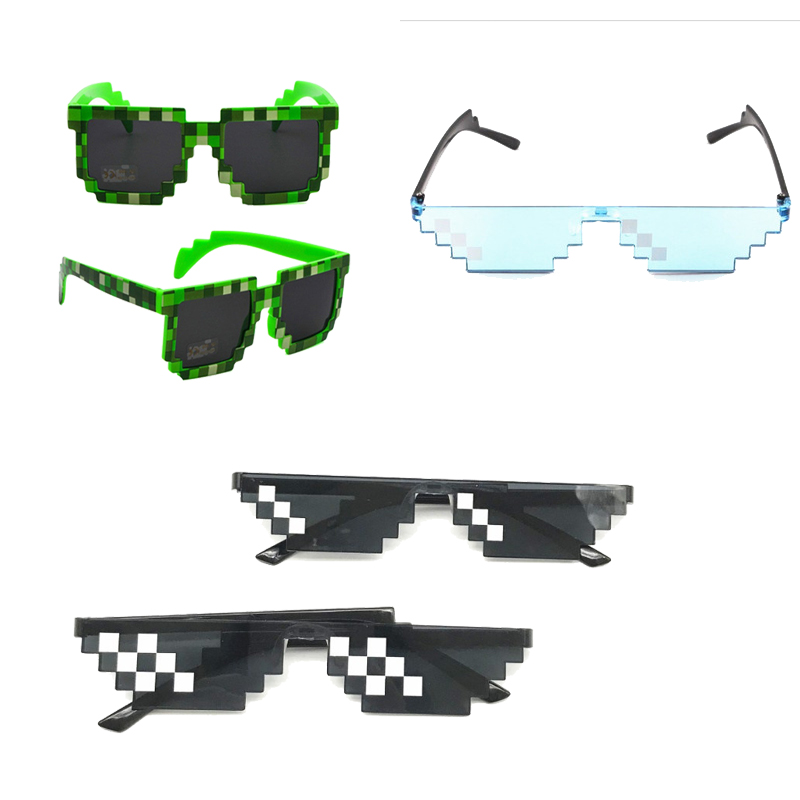 Hot Toys MineCrafted Sunglasses Kids Cos Play Action Game Toys Minecrafter Square Glasses   With EVA Case Gifts For Boy Girls