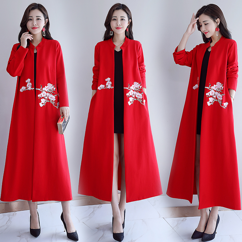 2020 Women's Ladies Chinese Jackets National Wind Loose Embroidery Jacquard Long Sleeve Short Coat Traditional Tops