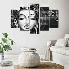 5 шт черный белый цвет холст картины репродукции статуя Будды
