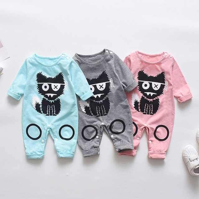 2018 New Newborn Baby Boys Girls Romper Animal Printed Long Sleeve Winter Cotton Romper Kid Jumpsuit Playsuit Outfits Clothing 4