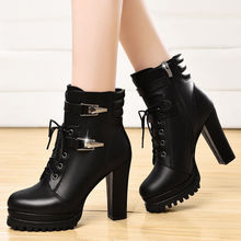 цены Women Sexy Block High Heels Shoes Female Pointed Toe Martin Boots Thick Heel Rivet Zipper Platform Women Lace Up Ankle Boots