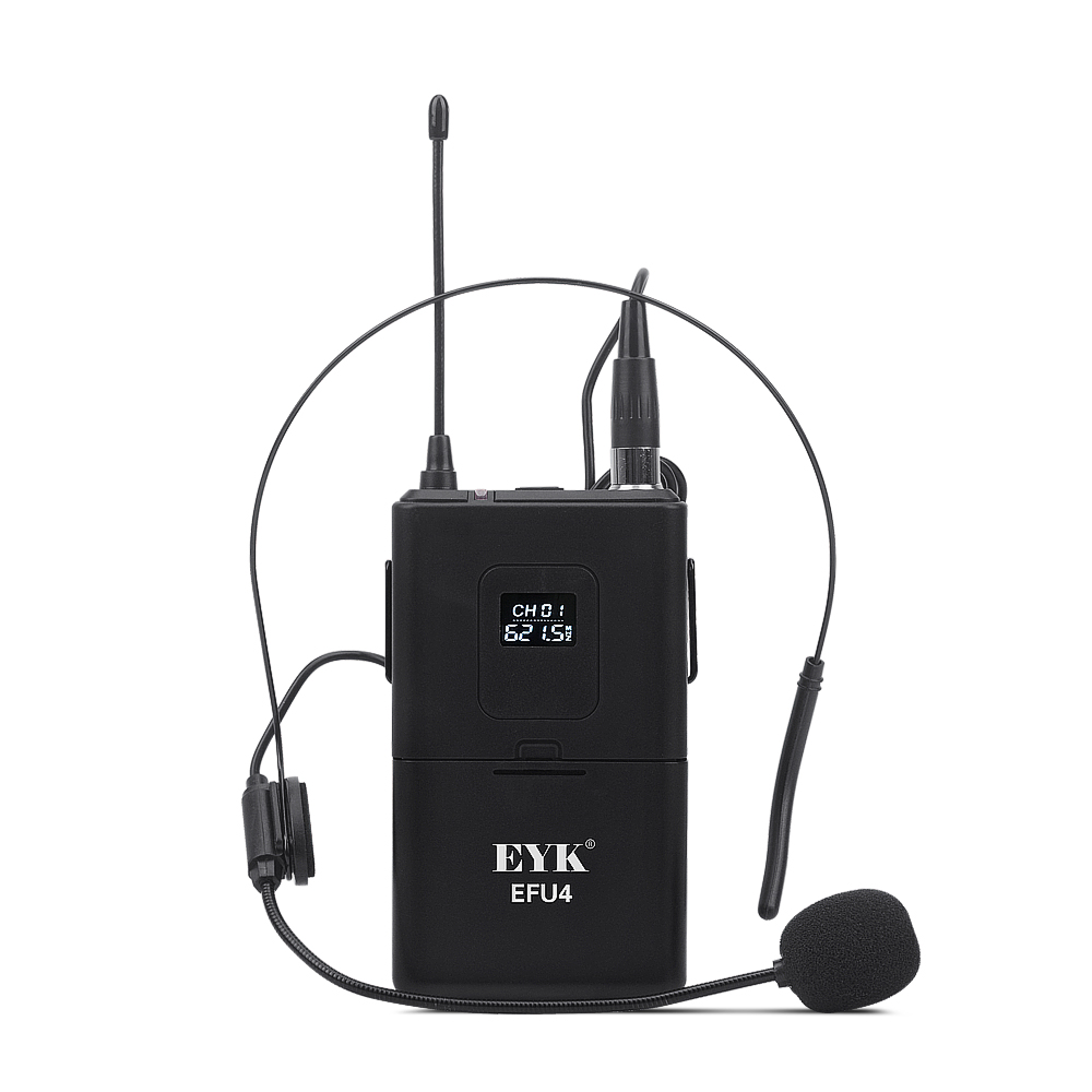 Image 5 - EYK EFU4 4 Channel UHF Wireless Microphone System with 4 Bodypack Headset and Lapel Mic for Stage Church Family Party KaraokeMicrophones   -