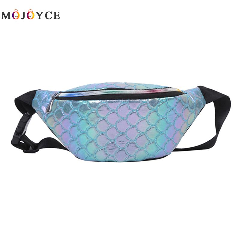Fashion Waist Bag PU Leather Women Fanny Pack Fish Scale Laser Phone Colorful Crossbody Chest Bag