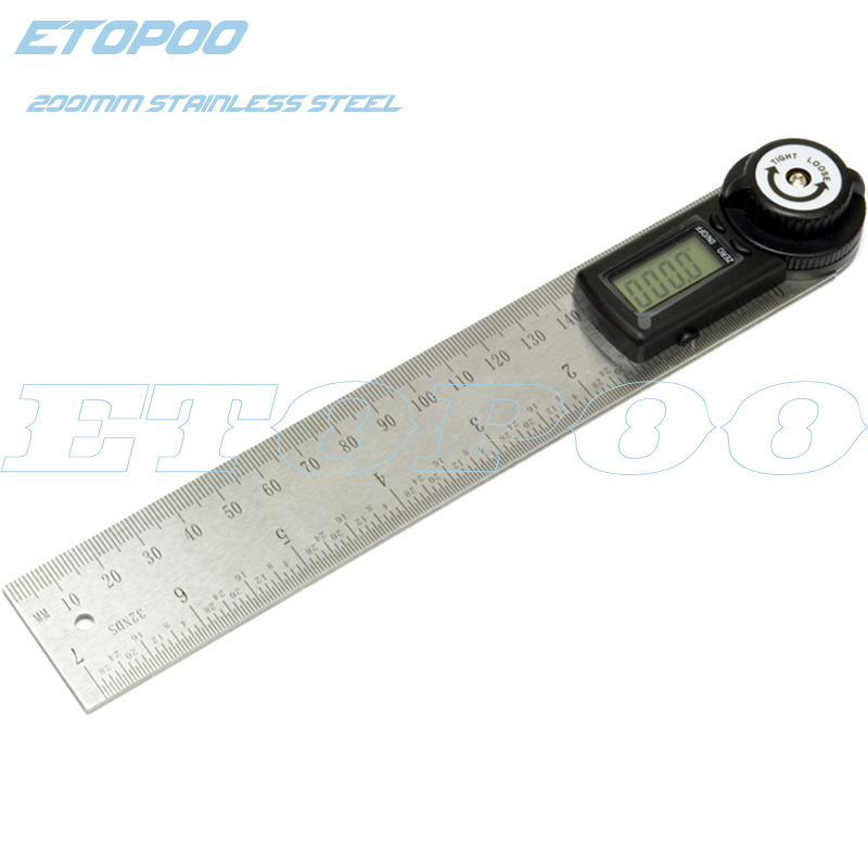 Etopoo Honor Quality 0-200 Size 999.9-Degree Two-in-One Stainless Steel Digital Angle Ruler