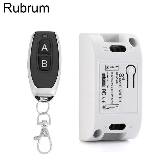 Rubrum 433 Mhz العالمي للتحكم عن بعد التبديل التيار المتناوب 110 فولت 220 فولت 1CH التتابع وحدة الاستقبال RF 433 Mhz التحكم عن بعد ل بوابة جراج