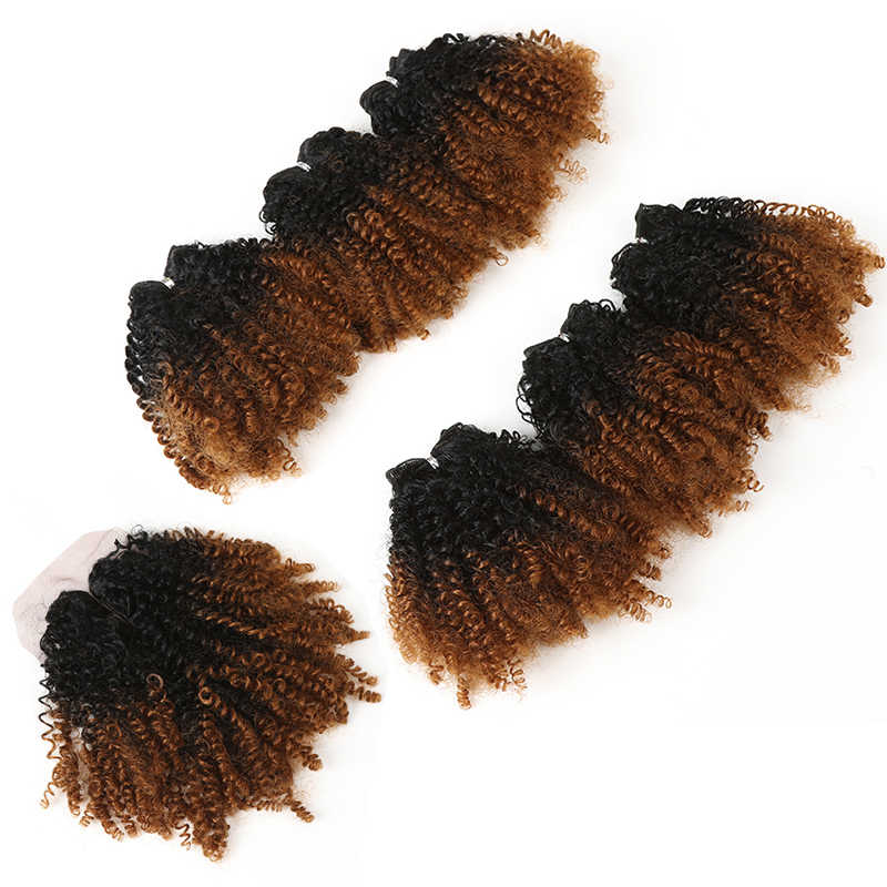 "14""Inch Ombre Hair Blonde Afro Kinky Curly Hair Weaving 7pcs/Lot Synthetic Hair Extensions 6Bundles With Closure For Black Women"