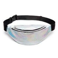 Laser Waterproof Waist Packs Bags Women Fanny Pack Female Belt Bag Black PVC Chest Phone Pouch Wallet Free Shipping