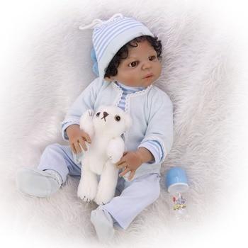 Reborn baby Dolls 23'' 57 cm black African boy bebe  Truly Realistic Baby Doll Toy Full Silicone Body Waterproof Kids Playmates