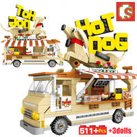 Sembo Block Constructor Fit Lego City Street View Hot Dog Truck Friends