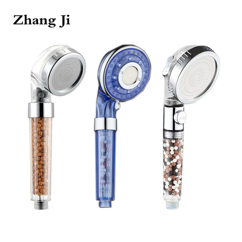 Zhangji Bathroom Healthy Spa Shower Head 3 Types Water Saving High Pressure Showerhead Replacement Beads