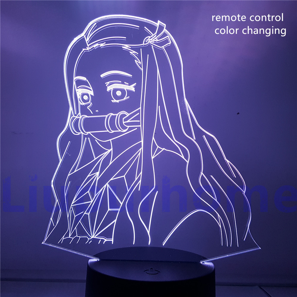 Table Lamp Demon Slayer Anime 3D LED Night Light Action Figures Color Changing Kamado Nezuko Tanjirou Lampara Visual Base Light