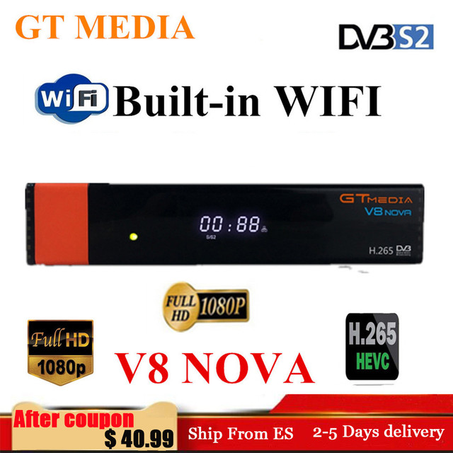 GTMedia V8 نوفا كامل HD H.265 DVB S2 فك استقبال الأقمار الصناعية أوروبا اسبانيا استقبال الأقمار الصناعية بنيت في واي فاي Freesat V9 سوبر