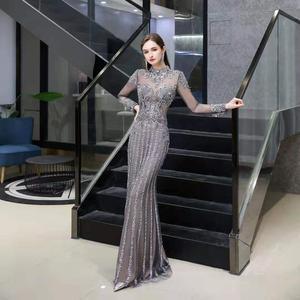 Image 4 - 2020 new evening dress banquet noble gray high end queen aura host mermaid dress
