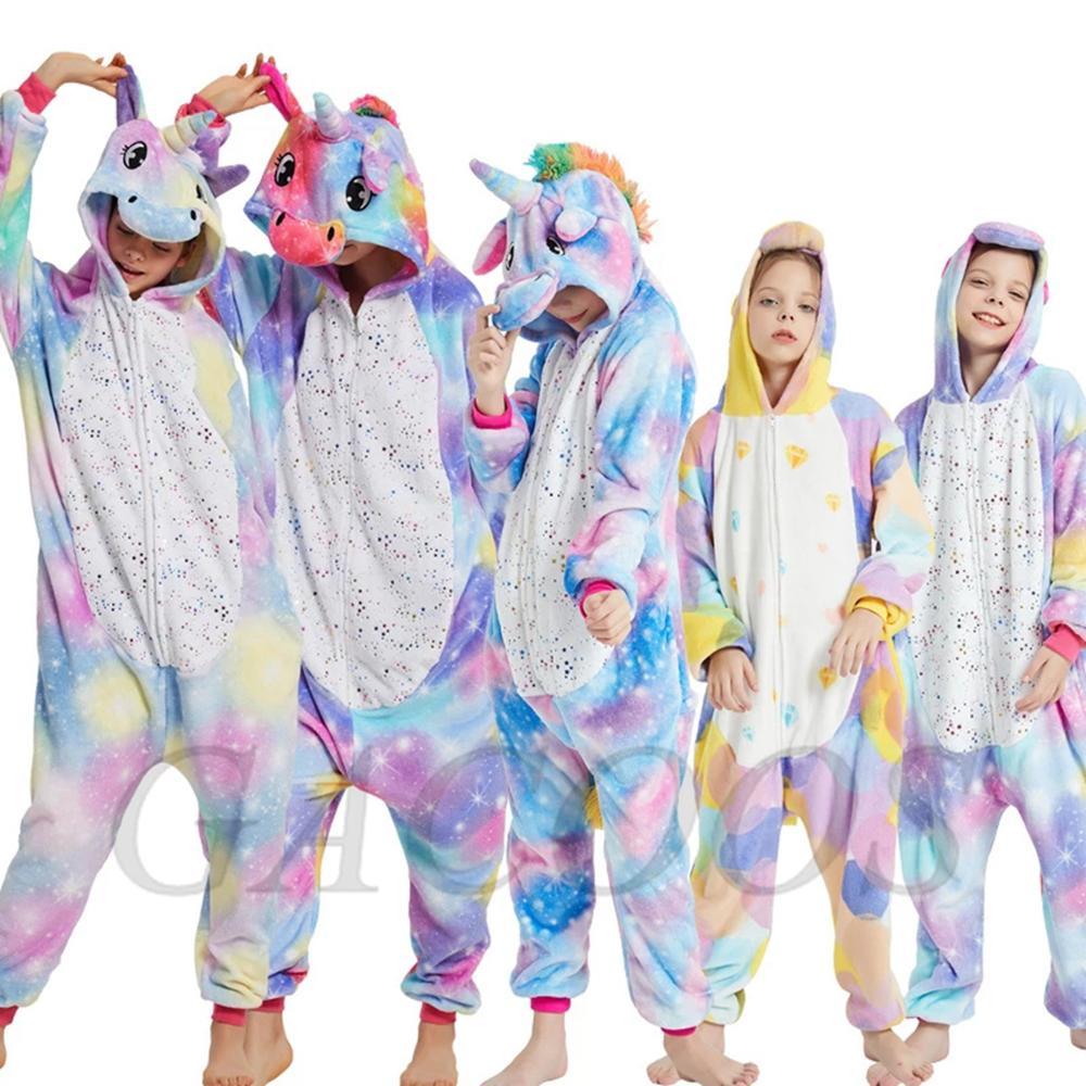2020 Winter Unicorn Pajamas Sleepwear For Girls Boys Kigurumi Panda Stitch Onesies Flannel Pyjamas Kids Children Licorne Pajamas