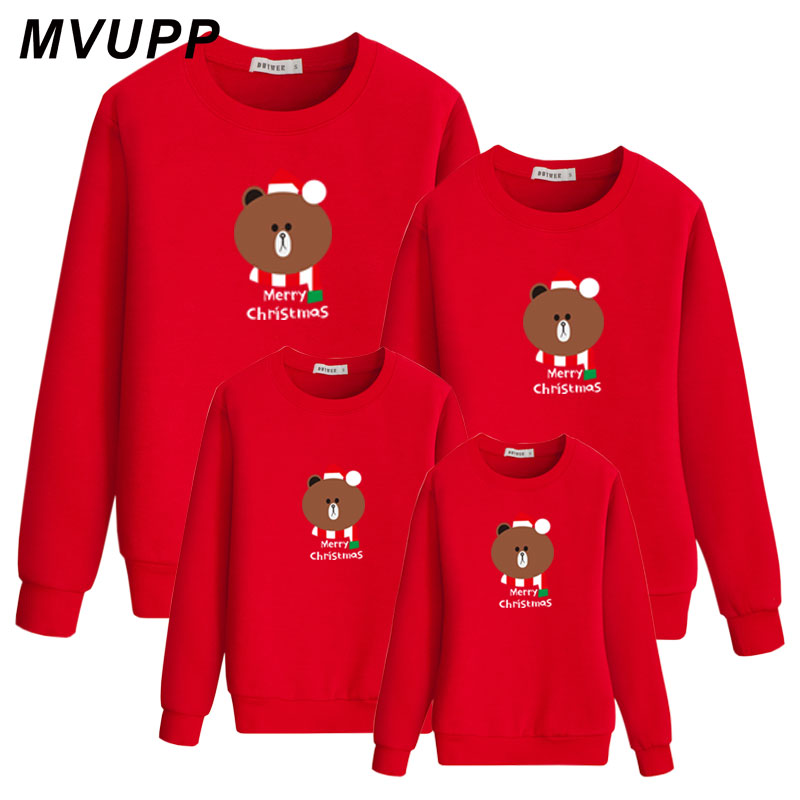 Cute Bear Merry Christmas Family Look Matching Clothes Dad Mom Daughter Son Mommy And Me Sweatshirt Cotton Hoody Baby Girl Kids