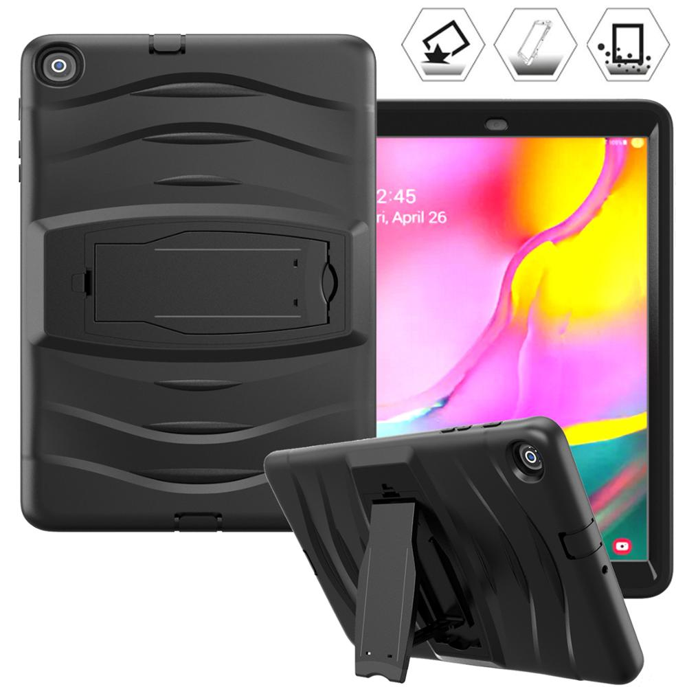 New For Samsung Galaxy Tab A 10.1 2019 T510 T515 SM-T510 SM-T515 Case, Heavy Duty Rugged Silicone Armor Pouch Kickstand Cover