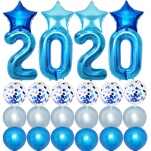 Twins Party Decoration Kits Blue New Year Graduation Decor Red 2020 Balloons For Events New Years Eve Party Supplies Silver red eve