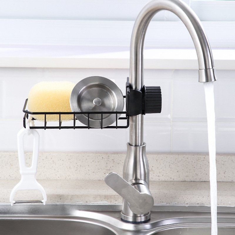 Tap Storage Shelf Hole Punched Kitchen Supplies Iron Art Pool Cleaning Cloth Sponge Draining Shelf Sink Storage Shelf