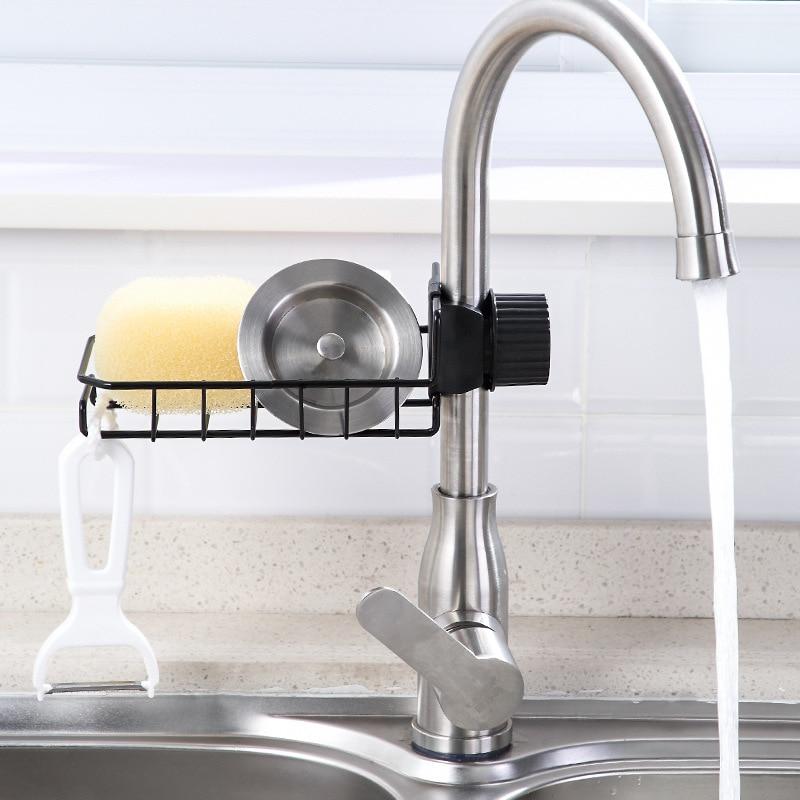 Tap Storage Shelf Hole Punched Kitchen Supplies Iron Art Pool CleaningCloth Sponge Draining Shelf Sink Storage Shelf