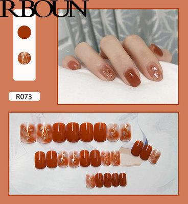 Fake Nails Art Nail Tips Press on False with Designs Set Full Cover Artificial Short Packaging Kiss Display Clear Tipsy Stick 5