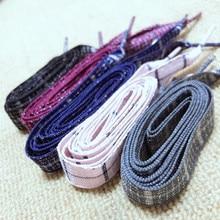 16 см клетчатые сетчатые шнурки из хлопка и льна контрастных цветов жаккардовые грубые поверхности Квадратные шнурки в английском стиле
