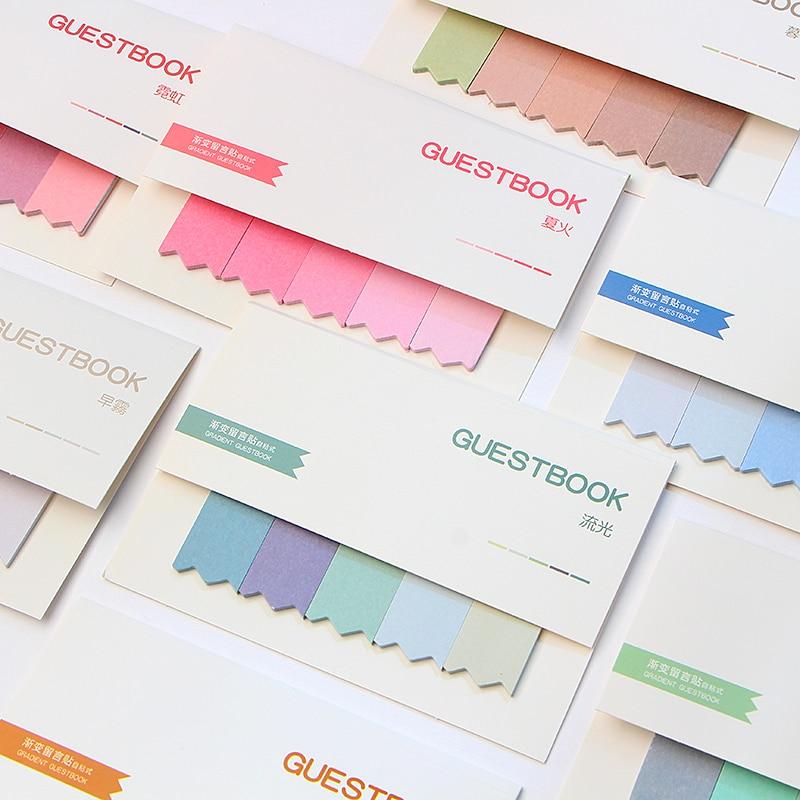 100 páginas gradiente bloco de notas pegajosas índice de marcador postado it planejador adesivos blocos de notas artigos de papelaria material escolar de escritório