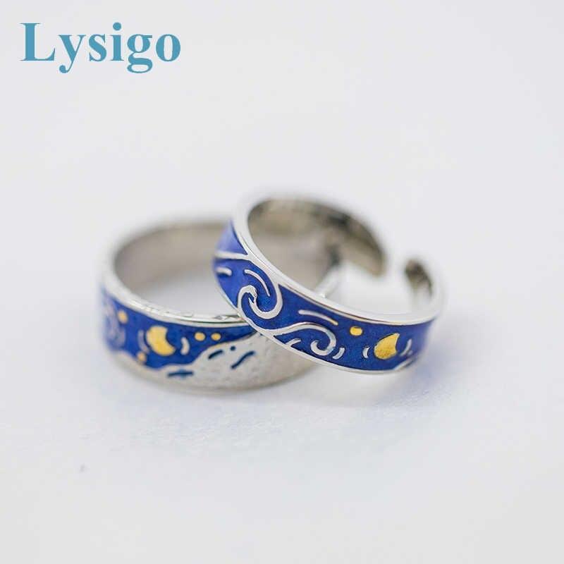 Lysigo 2019 модное кольцо из стерлингового серебра 925 пробы цвет Ван Гог звездное небо Открытое кольцо любовника для женщин группа романтические Драгоценности подарок бохо
