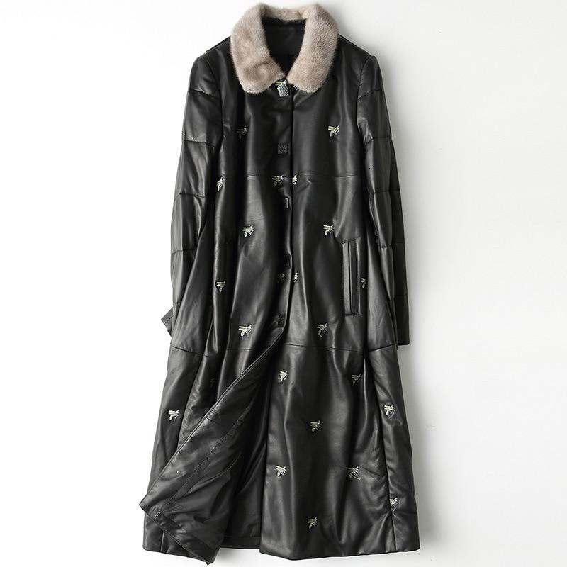 YOLANFAIRY Geniune Leather Down Coat Women Korean Fashion Sheepskin Leather Mink Fur Collar Jacket  HQ19-YFG810B YY331