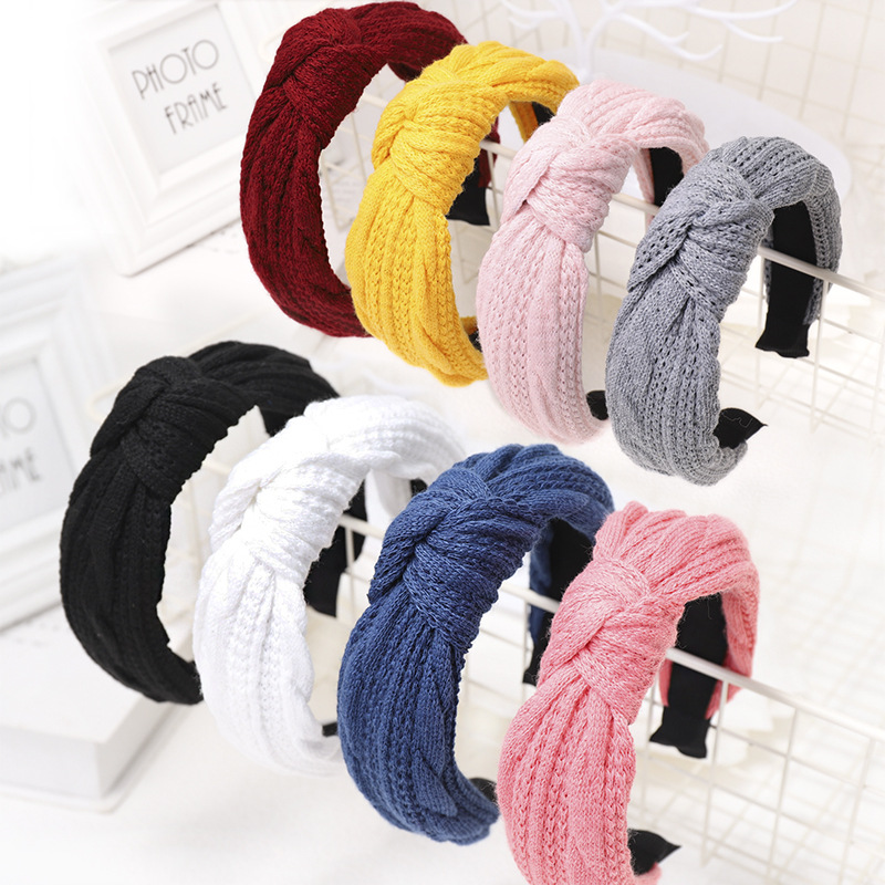 2019 Vintage Knit Hair Bands For Women Hair Clips Knot Turban Headband Hairpin Girls Hair Accessories Diademas Opaska Do Wlosow