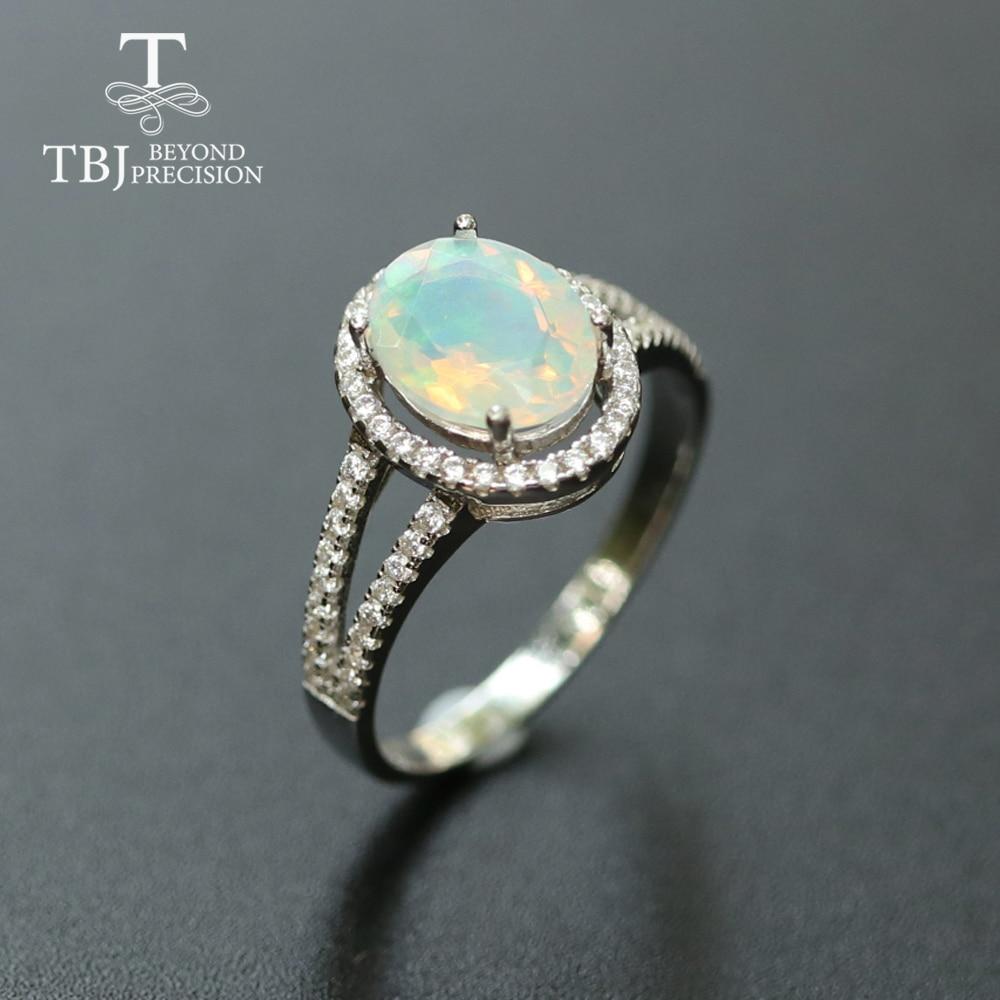Bague opale bijoux pierres précieuses naturelles solide 925 argent sterling conception simple bijoux fins noël pour les femmes, femme beau cadeau